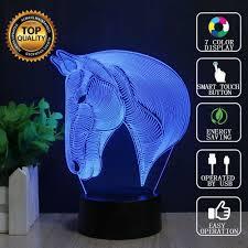 Schlafzimmer Lampe Sch Er Wohnen 3d Illusion Lampen Pferdekopf 7 Farben Led Nachtlicht Touch