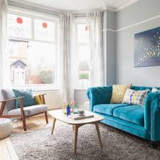 Living Room Blue Sofa Be Inspired By A Living Room Anchored By A Bold Blue Sofa Ideal Home