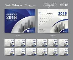 Desk Calendar Design Ideas Desk Calendar 2018 Template Design Blue Cover Layout Stock Vector