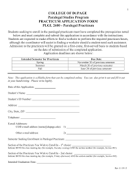 college of d page paralegal studies program practicum application form