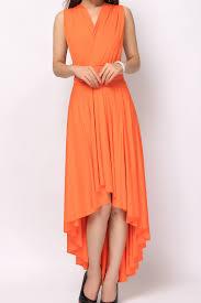 orange high low convertible dress bridesmaid dress hl 36