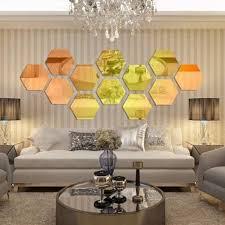 12x 3d mirror hexagon removable vinyl wall sticker decal home