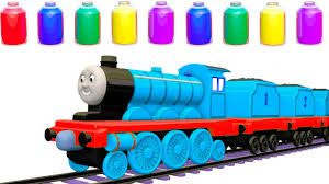 learn colors for children with kids train colours painting