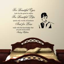 bedroom wall stickers for beauiful eyes audrey hepburn wall decal sticker quote lounge