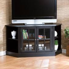 furniture black wooden corner tv stand with bookcase and shelves