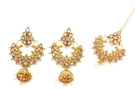 punjabi jhumka earrings antique gold polki jhumka tikka earring set glimour jewellery