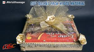How To Make Gift Baskets Diy Gift Basket From Waste Material How To Make Jk Arts 657