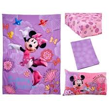 Purple Toddler Bedding Set Disney Minnie Mouse Fluttery Friends 4 Toddler Bedding Set