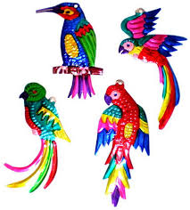 tropical bird ornaments 4 set of 8 company