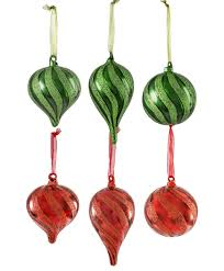 green glitter glass ornament set tree classics