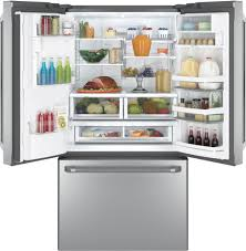 Refrigerator With French Doors And Bottom Freezer - ge cfe28tshss 36 inch french door refrigerator with lcd screen