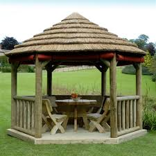 patio furniture gazebo 3 6m royal thatched garden bar gazebo internet gardener