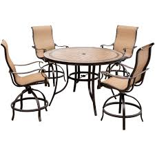 dining room table with swivel chairs hanover monaco 5 piece outdoor bar h8 dining set with round tile