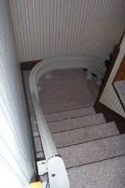 stair lift installed around landing columbus mobility