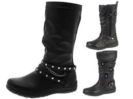 boots biker girls faux leather knee high boots biker riding stretch buckle