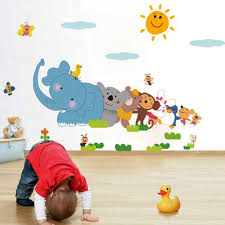 popular animals wall stickers buy cheap animals wall stickers lots baby room cartoon wall sticker kindergarten classrooms children room decoration cartoon animals wall stickers bs
