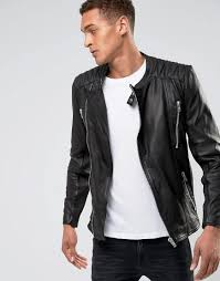 mens leather jackets black friday casual friday leather biker jacket in black for men lyst