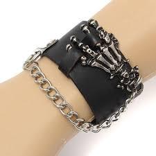 leather hand bracelet images Rock skeleton ghost skull hand bone leather bracelet for men jpg