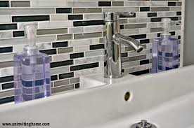 Ikea Backsplash by Remodelaholic Modern Bathroom Update