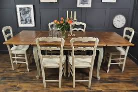 shabby chic french oak dining table with 6 chairs in rococo by the