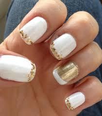 white and gold nail art design nails pinterest white nail