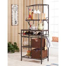 Metal Bakers Rack With Wine Storage Furniture Fascinating Bakers Rack With Drawers And Nice Design