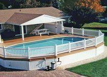 semi inground pool with deck large above ground pools