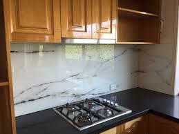 marble design printed glass splashback for a kitchen makeover