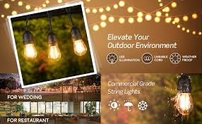 49ft led outdoor string lights commercial globe lights with 15