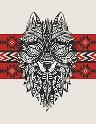 ethnic totem of a wolf indian wolf a of a wolf with an