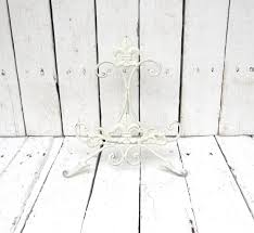 white easel book stand art prop shabby and chic fleur de lis
