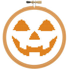 Halloween Pumpkin Icon Pumpkin Face Halloween Cross Stitch Pattern Download Beginner
