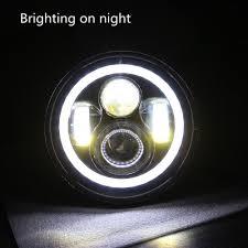 jeep headlights at night amazon com 2 pack lantsun 7 inch round cree led projector