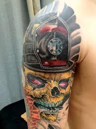 amazing colorful skull tattoo on man right half sleeve