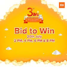 bid 2 win india bid to win free mi smartphone 20th 21st july