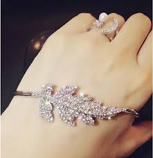 bangle bracelet with ring images Crystal silver open hand palm bangle bracelet cuff ring slay jpg