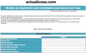 calculo referencial de prestaciones sociales en venezuela liquidador modelo liquidación trabajadores periodos inferiores a 30