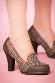 Shoo Olive 40s tweed pumps in olive