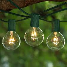 100 ft green c9 string light with g50 clear bulbs