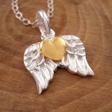 gold wings necklace images Sterling silver gold heart angel wings necklace silver willow jpg