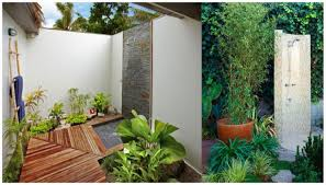 makeover outdoor bathroom featuring tall stainless shower and