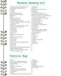 vacation packing checklist pre filled travel packing list