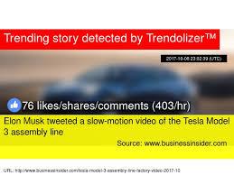 elon musk tweeted a slow motion video of the tesla model 3