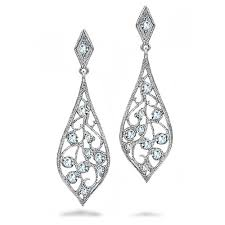 cubic zirconia filigree dangle teardrop earrings