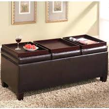 leather tray top ottoman leather tray top storage ottoman coffee table storage ottoman with