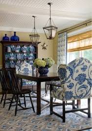 Blue And White Dining Room With Great Head Chairs Dining And - Blue and white dining room