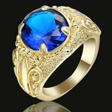 blue fashion rings images New fashion jewelry blue sapphire yellow rhodium plated wedding jpg
