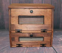 wood bread box wooden rustic vegetable potato bin storage
