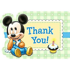 mickey mouse thank you cards disney baby mickey mouse 1st birthday party postcard