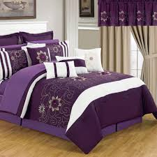 Black And Purple Comforter Sets Queen Lavish Home Amanda Purple 24 Piece Queen Comforter Set 66 00014